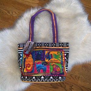 Laurel Burch dog print painted handbag tote NWT